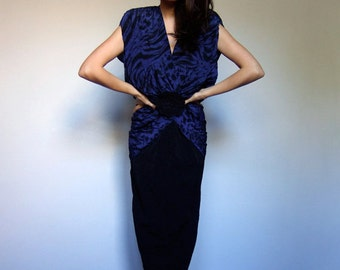 80s Blue Black Dress Deep V Peplum Animal Print Party Dress 1980s - Large L