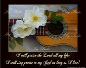LIVE TO SING - Custom Christian Home Decor - Vintage Verses Wall Art - Inspirational Wall Art - Word Wall Art - Charango & Roses Photograph