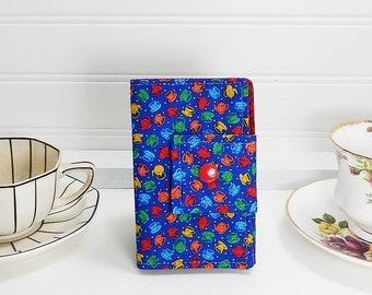 Tea wallet - Teabag case for travel - mini cups print teabag wallet -  4 pockets - tea bag wallet by Purple Grace - blue tea wallet