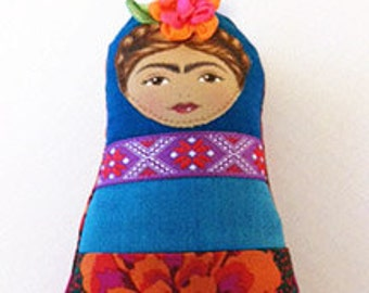 Frida Kahlo Doll, Teal and Fuchsia, Softie Mini, Clip-on-Hold for Rachelriere