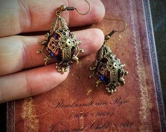 Dragons Eye Medieval Cross Earrings