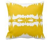 Modern Yellow and White Graphic Designer Throw Pillow w/ Insert