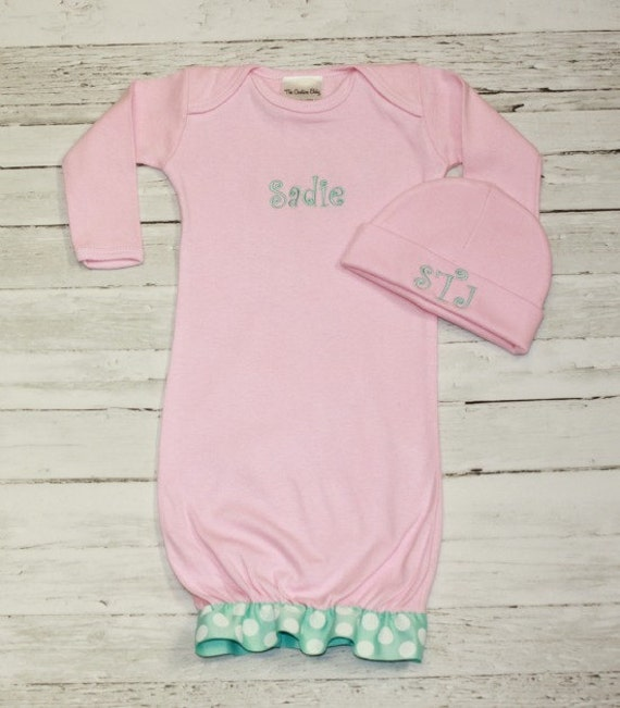 Light Pink & Aqua Ruffle Personalized Take me Home Layette Gown BOW HAT