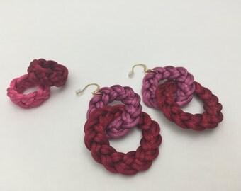 Braided earrings, Bicolor earrings, Sterlings silver earrings with 2 interlocking loops