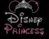 "WOMEN'S 8.7"" Minnie Mouse Disney Princess tiara iron on rhinestone transfer your color choice"