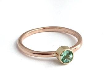 Moose Pond: Mint Green Tourmaline Stacking 14K Rose Gold Ring