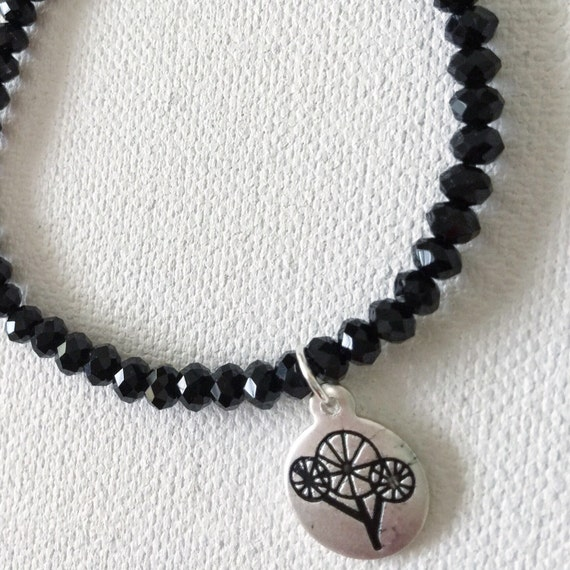 Faceted Black Agate & Mod Tree of Life Bracelet