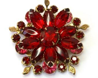 Vintage 50s Rhinestone Brooch Ruby & Pink Glass Stone Flower Brooch Pin