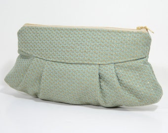 Handmade pleated Sophie clutch : Mint and gold