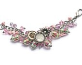 Pink Venetian Lampwork Bracelet Vintage Floral Glass Beads Antique Buttons Swarovski Crystals Wirewrapped Silver Pink Rose Gold Green OOAK