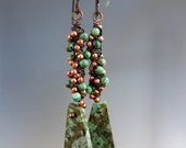 Chrysocolla Drop Earrings, Copper Wirewrapped,  One of a Kind Earrings, Ready to Ship