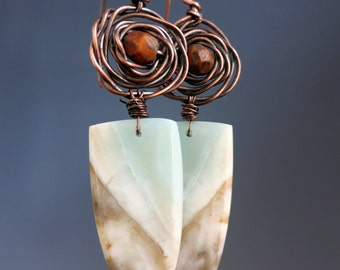 Amazonite Shield Earrings, Copper & Natural Stone, One of a Kind Handcrafted Earrings, READY TO SHIP