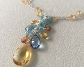 Semiprecious Gemstone Pendant Necklace in Sterling Silver with Yellow Citrine, Mystic Topaz and Rare Blue Zircon