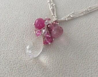Gemstone Pendant in Sterling Silver with Rock Crystal, Pink Sapphire, Mystic Pink Quartz, Mystic Pink Topaz - Pink Gemstones