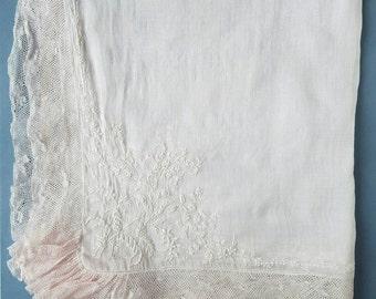 Very delicate antique bridal handkerchief.