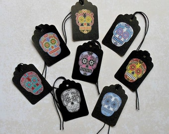 Sugar Skull GIFT TAGS- 8 Colorful skull patterns on black tags- Sugar Skull tags Dia de los Muertos Day of Dead Prints sugar skulls