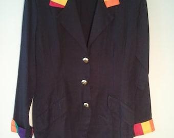 SALE late 80s early 90s rainbow color block boho blazer hippie jacket 36 38 11
