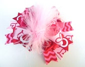 Valentine Hair Bows - Heart Hair Bow - Over the top Loop Style Big Bows- Hair Bow - Pink Red and Hot pink Hair Bow