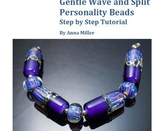 Gentle Wave and Split Personality Beads, lampwork beadmaking tutorial