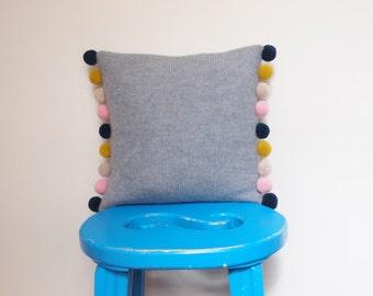 Mini Pom Pom Cushion Made With 100% Soft Lambswool
