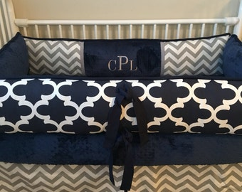 Baby bedding boy Crib set with Navy quatrefoil and Gray Chevron DEPOSIT Down payment ONLY read details
