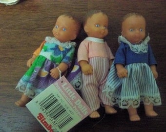 3 vintage rubber  simba  little dolls