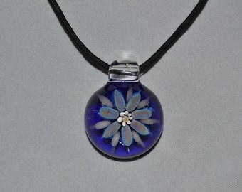 Hand Blown Glass Flower Pendant Necklace - Boro Pendant Glass Focal Bead - Colorful Lampwork Glass Jewelry