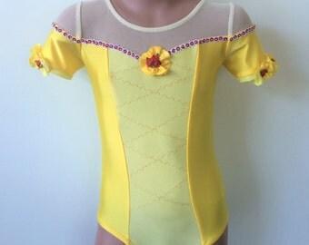 Princess Belle Inspired Leotard. Gymnastics Dance Short Sleeve Belle Leotard. Performance Belle Costume. Dancewear.  Size 2T - Girls 10