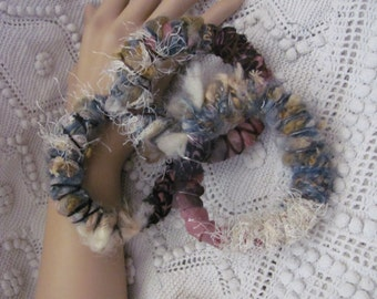 Bracelet Boho Bracelet Set of 3 Handmade OOAK Textile Fiber Art Recycled Materials