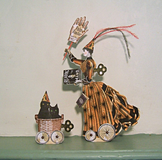 Halloween Decoration Palm Reader Paper Doll Centerpiece Or 3D Greeting Card - INSTANT Download - Black Cats HP12H