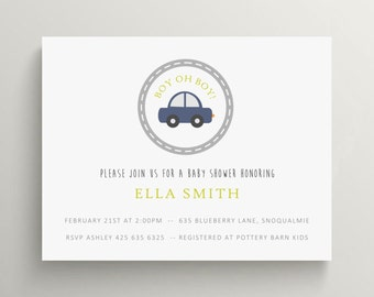 little car baby shower invitation set // birthday invitation // blue car // road // modern // thank you note // cards // road // vehicle