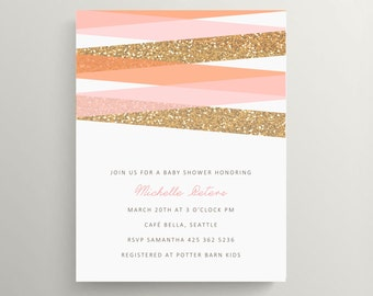 modern stripes and glitter baby shower invitation set // birthday invitation // gold // blush // simple // pink // thank you note