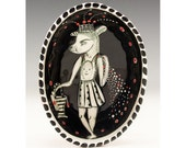 Stepping Out - Original Painting by Jenny Mendes in an Oval Hand Pinched Ceramic Bowl
