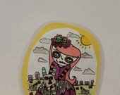 Day of the Dead, girl,bunnyr,adorable,creepy,sweet,cemetery,illustration,original, bookmark,