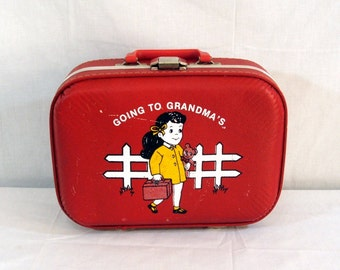 Vtg Childs Luggage Red Going To Grandmas Suitcase Overnight Bag