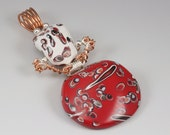 Red and White Pendant - Hinged with Copper and Silver Wire No. 138