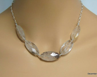 Chunky Quartz Necklace in Sterling Silver