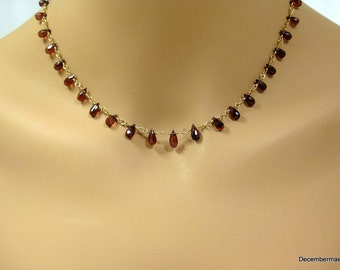 Garnet Teardrop Briolette Necklace in Gold