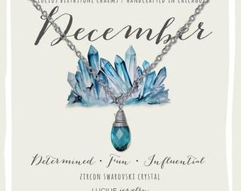 December Birthstone - December Birthstone Necklace - December Jewelry - Birthstone Necklace - Birthstone Jewelry - Swarovski Necklace