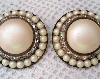 Vintage Faux Pearls Rhinestone Earrings Clip On Bridal Wedding Hollywood Glamour