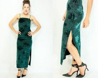 Vintage 90's Green Floral Rose Print Velvet Leggy Maxi Dress / Bandage Tube Dress / Slinky Spaghetti Straps / High Cut Leg Slit