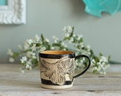 Ceramic Mug / Sgraffito / Gingko / Saffron Yellow