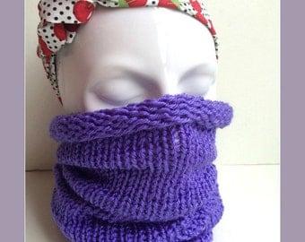 Cowl/scarf/snood/neckwarmer Handknitted   - GRAPE