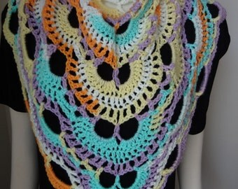 Yellow, Sky Blue, Tangerine Orange, Lavender, White Handmade Crochet Virus Shawl, Scarf, Prayer Shawl, Cape