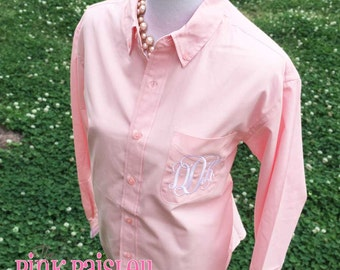 Monogram oxford button down shirt