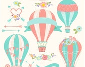 ON SALE Hot Air Balloons clip art, hot air balloon clipart,hot air balloon label clip art, shabby chic, instant download clip art