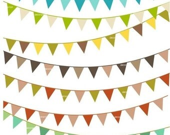 ON SALE bunting clipart, flag banner clipart, Digital clipart ,10 solid colour flag banner 2