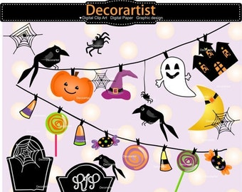 ON SALE halloween banner clip art, halloween bunting clip art,halloween tombstone clip art, colourful halloween clip art, invitation card