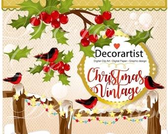 ON SALE Christmas clipart,christmas robin clipart,vintage style christmas clipart, winter Digital clipart