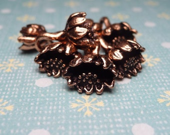 Copper Plated Lotus Flower Charm  - 2pc